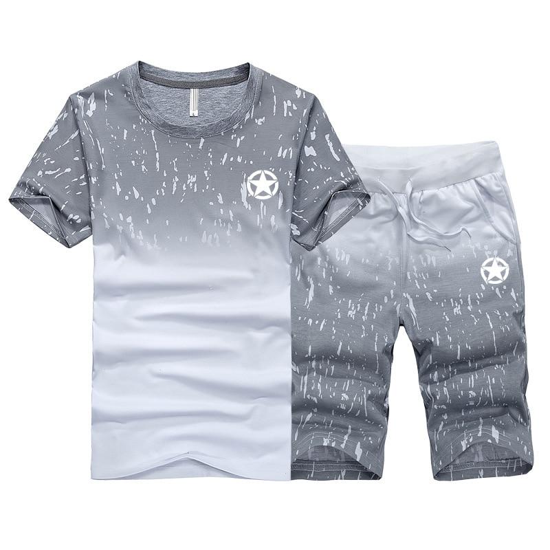 Men's Suit 2 Pieces Sets Summer Men Set Fitness Tracksuit Men SweatShirt Shorts Sets Mens Casual Tee Shirts Set Sportswears