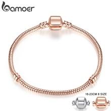 BAMOER, розовое золото и серебро, цепочка-змейка, браслеты, сделай сам, браслет, ювелирное изделие, 16 см-23 см, 8 размеров на выбор, PA9007