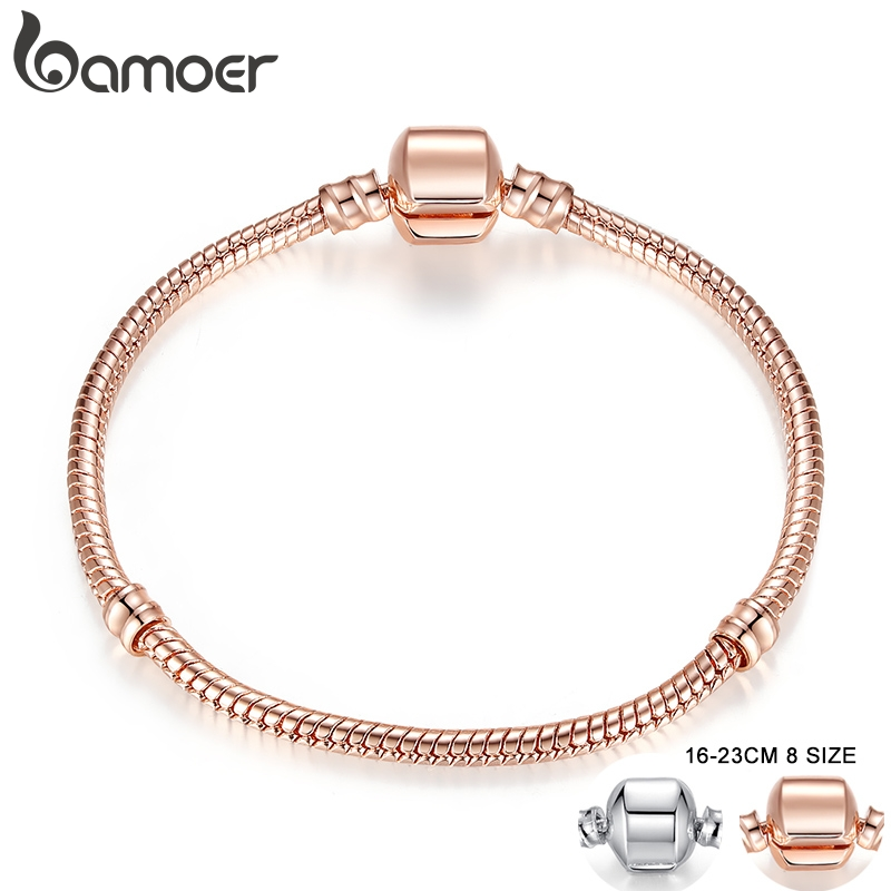 BAMOER Rose Gold Color & Silver Color Snake Chain Bracelets DIY Bracelet Jewelry 16CM-23CM 8 Size Choice PA9007(China)