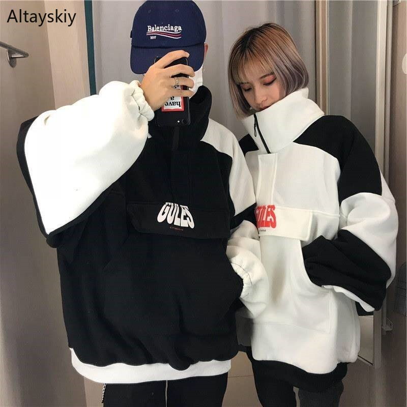 Hoodies Women Couple Clothing Loose Harajuku All-match Korean Style Womens Soft Daily Sweatshirts Trendy Patchwork Lovely 2020