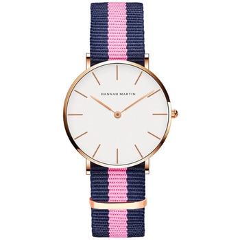 Classic Rose Red Dark Blue Nylon Strap Japan Quartz Movement Fashion Casual Wrist Watch Fabric thin Canvas Wristwatch For Women