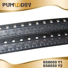 200pcs SS8550 SS8050 Y1 Y2 SS8050 100pcs + 100pcs SOT23 SS8550 PNP NPN SOT-23 SMD IC