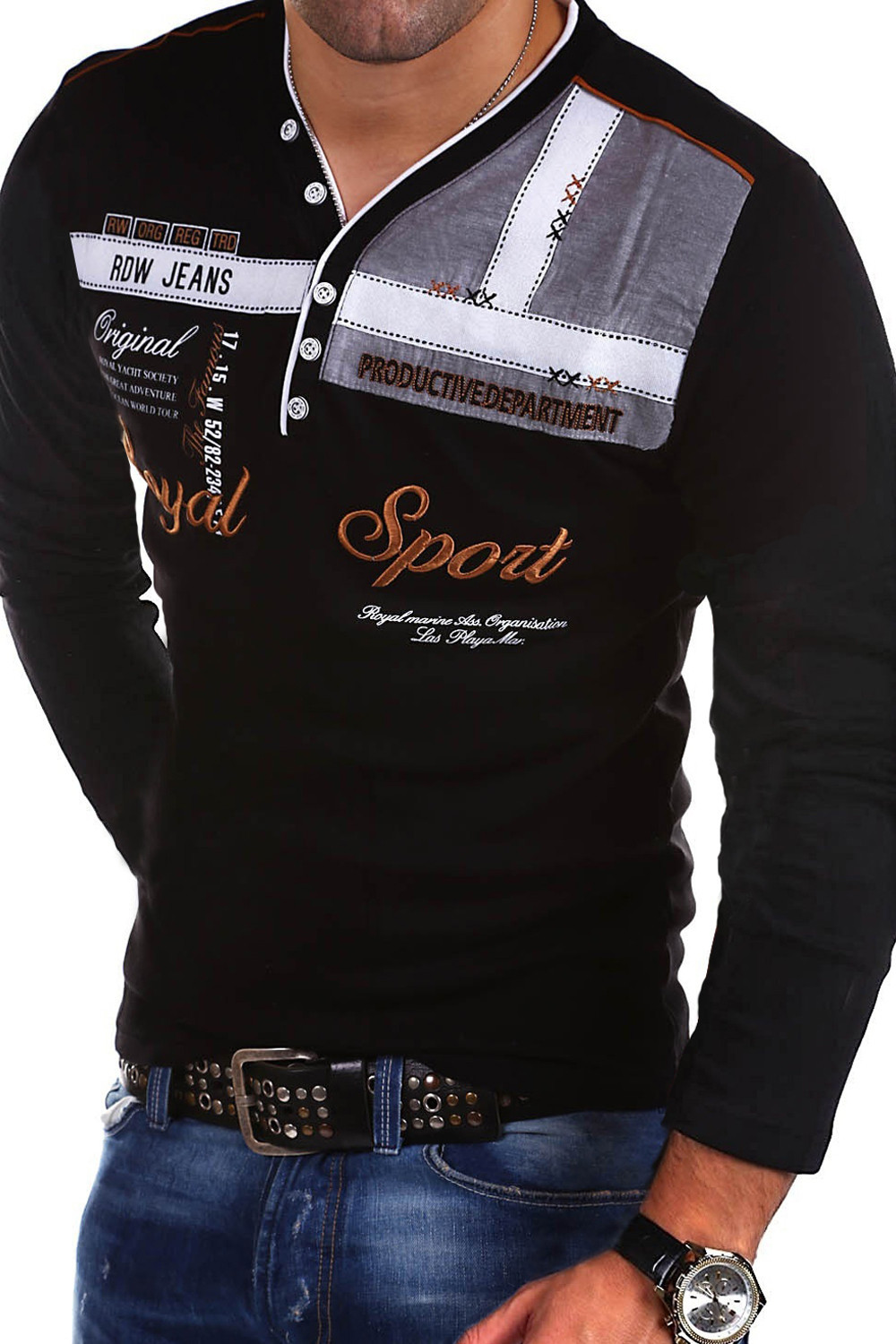 MEN'S T-shirt 2019 Summer Men Fashion And Personality Long Sleeve Polo Shirt <font><b>T9800</b></font> image