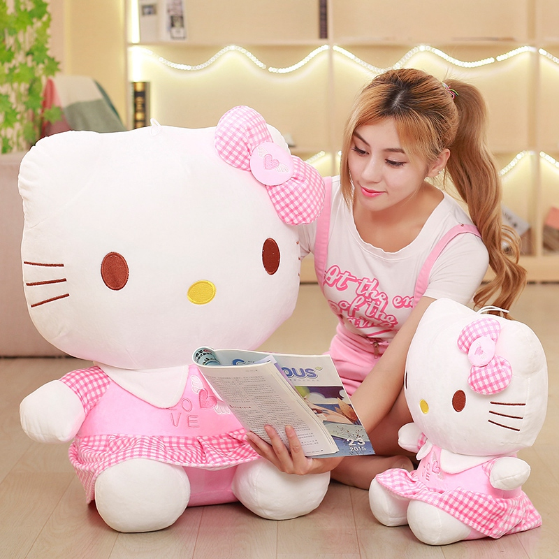 Love Model KT Cat Doll Plush Toy Cute Dress Hello Kitty Doll Ragdoll Girl Bed Sleeping Doll Pillow Birthday Gift For Girlfriends