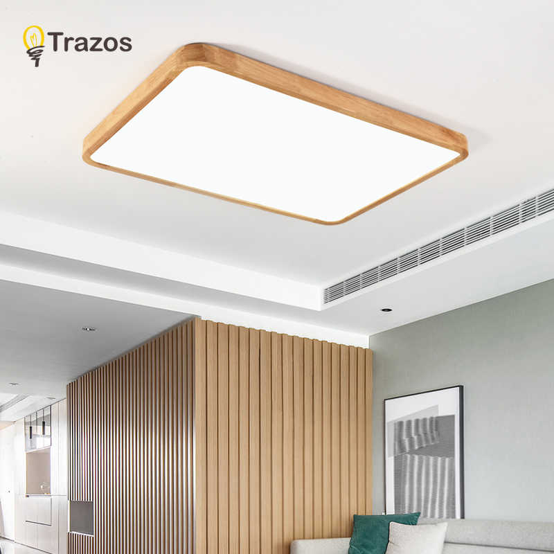 Simple Modern Oak Wood Ceiling Lamp