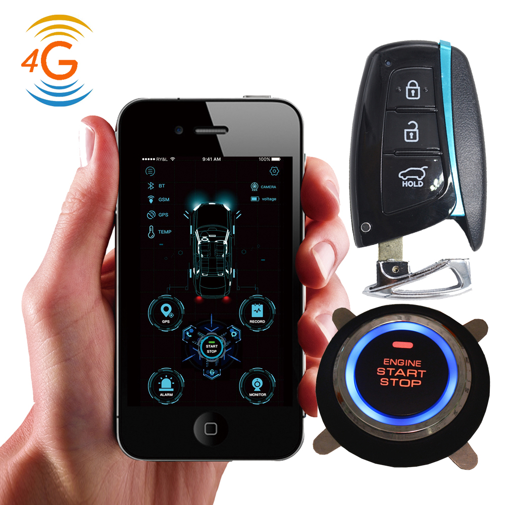 Cardot 4G gps gsm pke entrada inteligente sin llave de arranque remoto del motor de parada de arranque alarmas del coche Alarma de automóvil, motor de arranque y parada, pulsador Starline, interruptor de ignición RFID, sistema antirrobo de entrada sin llave