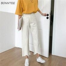 Calças femininas para verão, calças retro para estudantes, cintura alta, com bolso, jeans, estilo coreano, todos os peças, casual, diária comprimento