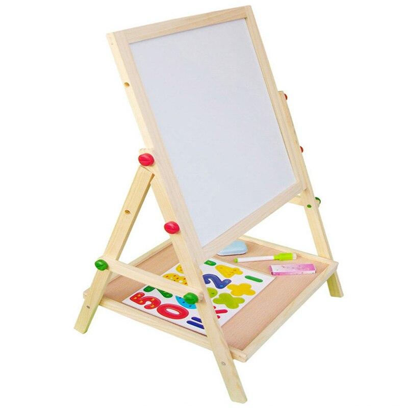 Enfants en bois levage double face magnétique planche à dessin chevalet croquis graffiti peinture cadre puzzle apprentissage tableau noir jouet - 2