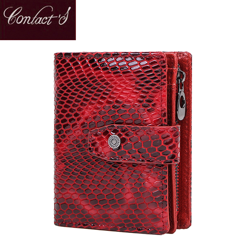 Contact's Small Women Wallet Genuine Leather Female Wallets Red Luxury Short Ladies Money Coin Purse Portfel Rfid Card Holder