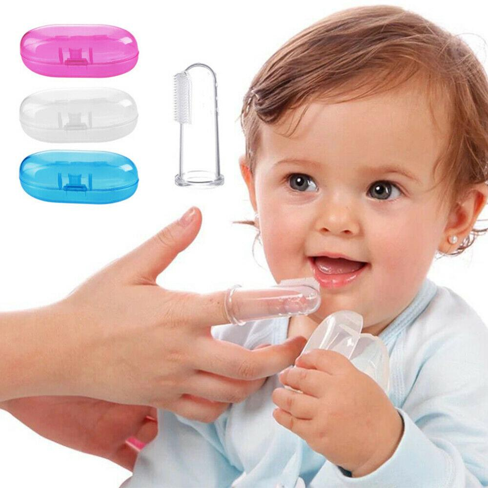 Baby Care Finger Silicone Toothbrush With Box Children Teeth Clear Infant Soft Rubber Cleaning Brush Massager Toothbrush in Toothbrushes from Mother Kids