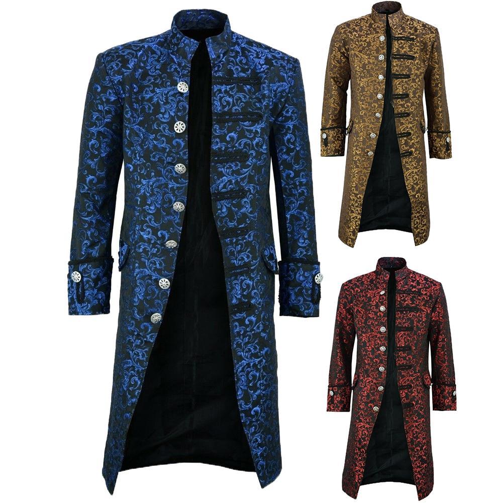 Halloween Victorian Men Jacquard Weave Stand Collar Long Sleeve Coat Outwear