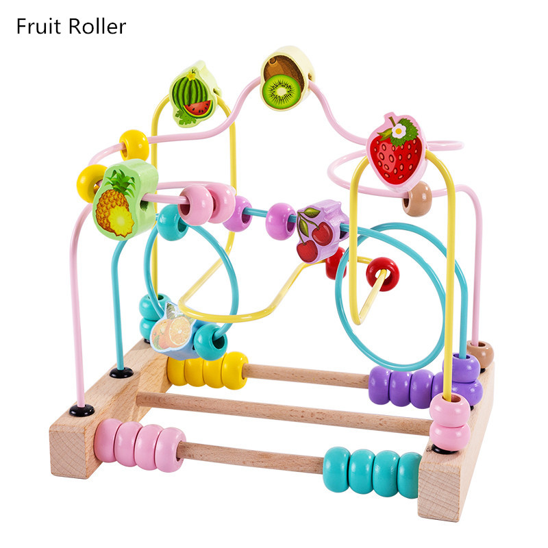 Montessori Wood Baby Educational Toy Wooden Bead Roller Coaster Wood Beads Maze