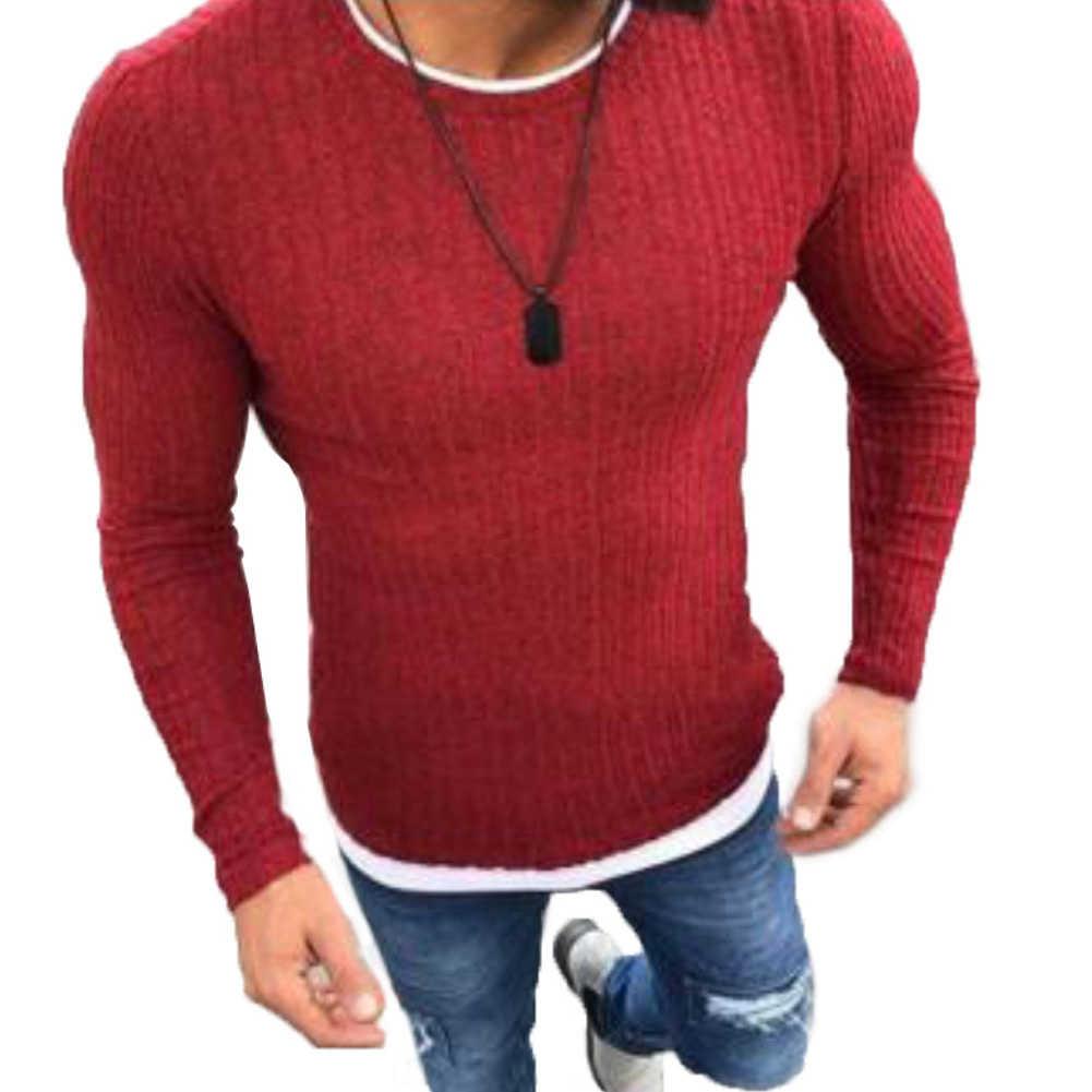 2020 신형 가을 겨울 남성용 스웨터 남성용 O 넥 솔리드 컬러 캐주얼 스웨터 남성용 슬림 피트 브랜드 니트 풀오버