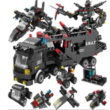 715pcs City Police Station Car Building Blocks For City SWAT Team Truck House Blocks Technic Diy Toy For Boys Children 1122pcs 8in1 swat city police station building blocks compatible technic car truck creator bricks toys for children boys gifts