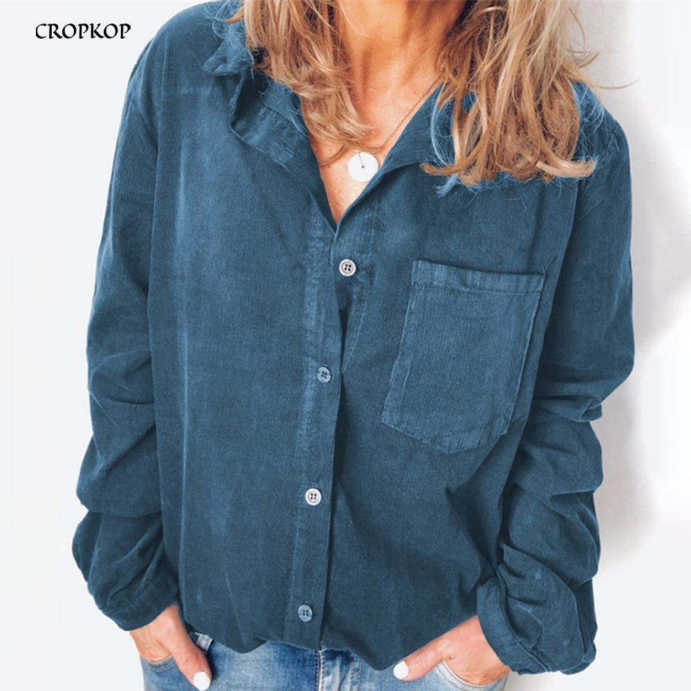 Oversized Blouse Ladies Long Sleeve Shirts Tops Button Up Casual Corduroy Autumn Winter Plus Size Cardigan Women Clothes Fashion(China)
