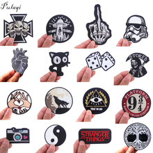Pulaqi Black and white Patch DIY Embroidered Patches for Clothing Iron on Stickers to Cloth Punk Hippie Applique Round Badge F