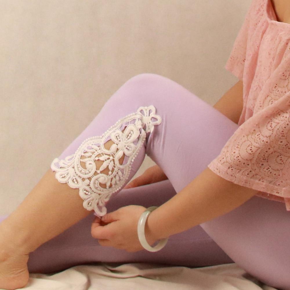Shikoroleva Leggings Woman 2020 Modal Cotton 3/4 Capris Short Opaque Jeggings Crochet Lace Plus Size 7XL 6XL 5XL XS Red Pink
