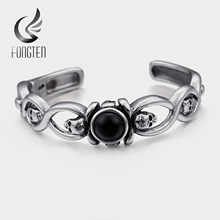Fongten Retro Skull Men Bangle Stainless Steel Black Stone Open Cuff Bangles Bracelet Male Fashion Jewelry(China)