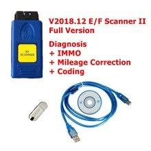 Melhor qualidade v2018.12 e/f scanner ii versão completa para bmw ef diagnóstico + immo + correção quilometragem codificação