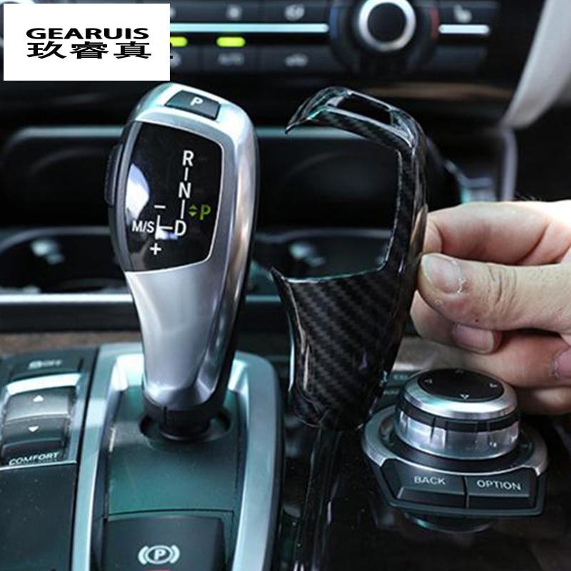Carbon Fiber Gear Shift Handle Sleeve Button Covers Stickers For BMW F20 F30 F10 F32 F25 X5 F15 F16 Interior Accessories RHD LHD