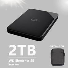 WD 2TB przenośny zewnętrzny dysk twardy elementy SE USB 3.0 czarny HDD HD Plug-and-Play oryginalne nowe urządzenie pamięci masowej