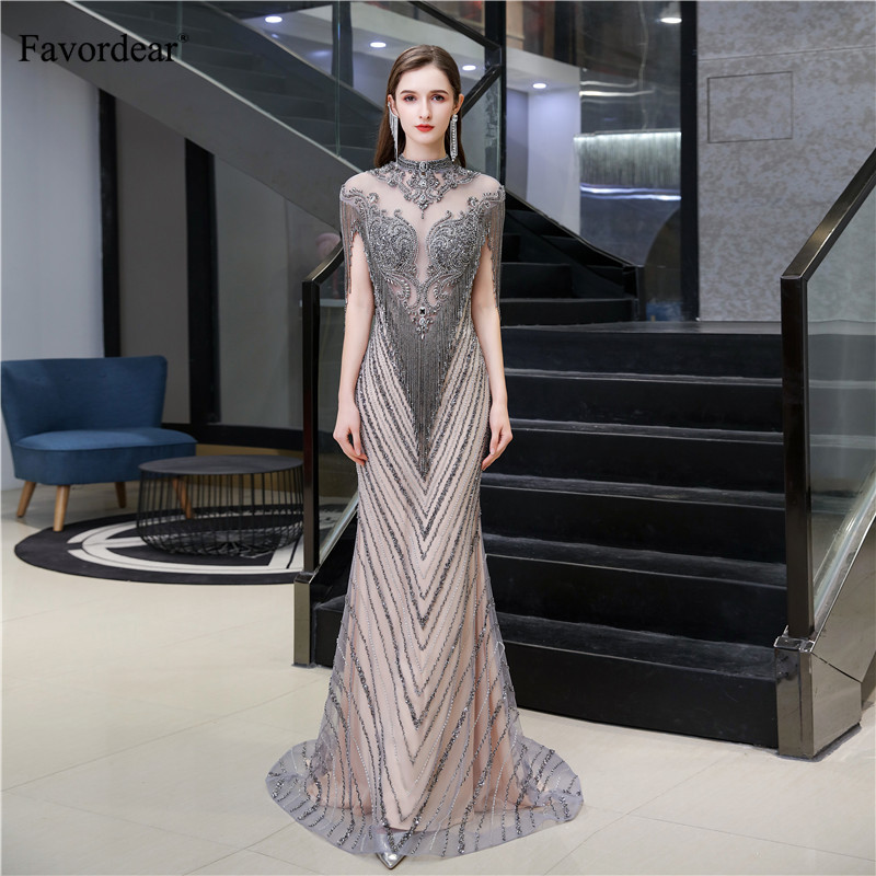 Favordear Sexy Mermaid Sparkly Sequin Evening Dress Vestido De Noite Luxurious High end Formal Dress Party Gown with TasselEvening Dresses   -