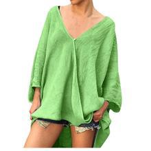 Echoine Women blouse Tops long-sleeved linen t-shirt female Soild color vintage casual shirt autumn plus large size clothing
