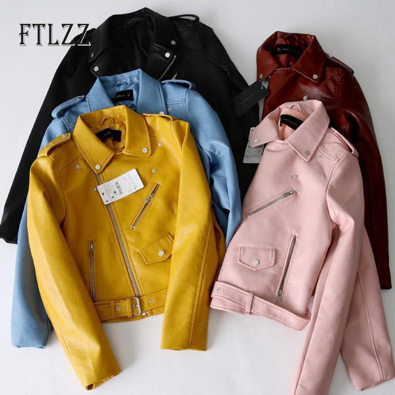 Women Faux Leather Jacket Fashion Slim With Belt Turn-down Collar Leather Coat Autumn Ladies Yellow Biker Moto PU Outerwear
