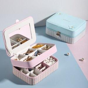 Image 3 - Casegrace dwuwarstwowa przenośna torba podróżna pudełko na biżuterię z lustrem skórzany Organizer do ekspozycji futerał do przechowywania kolczyków naszyjnik pierścionek