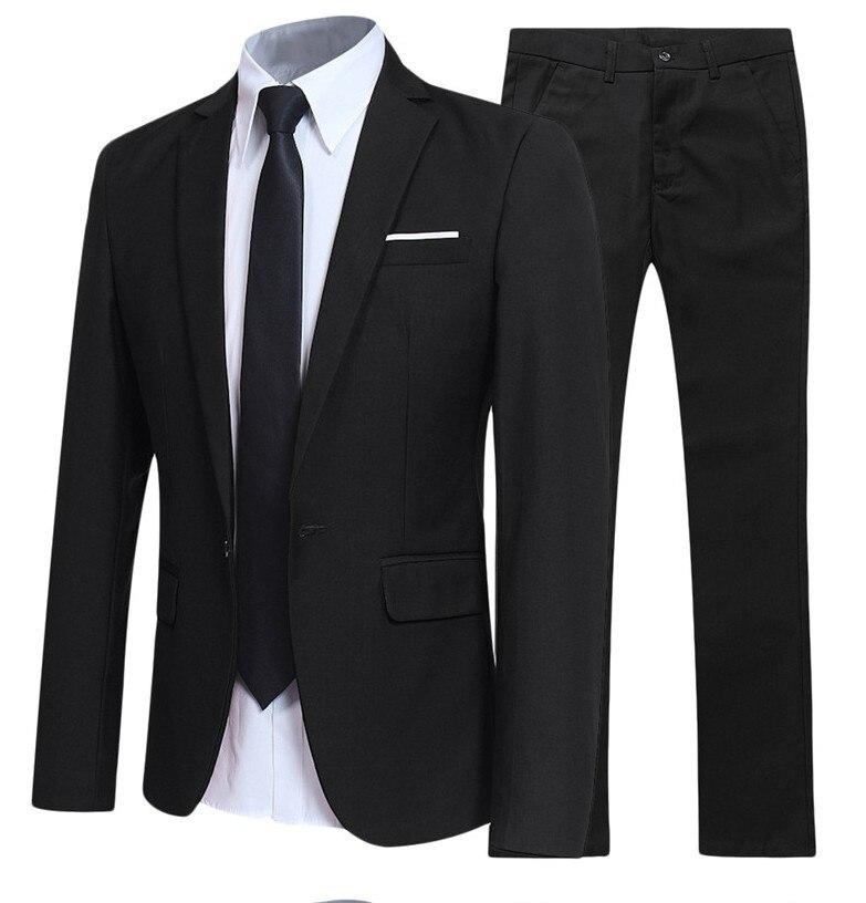 19 Spring And Autumn Korean-style Solid Color Suit Men's Fashion Slim Fit Groom Marriage Formal Dress Suit Two-Piece Set Men's
