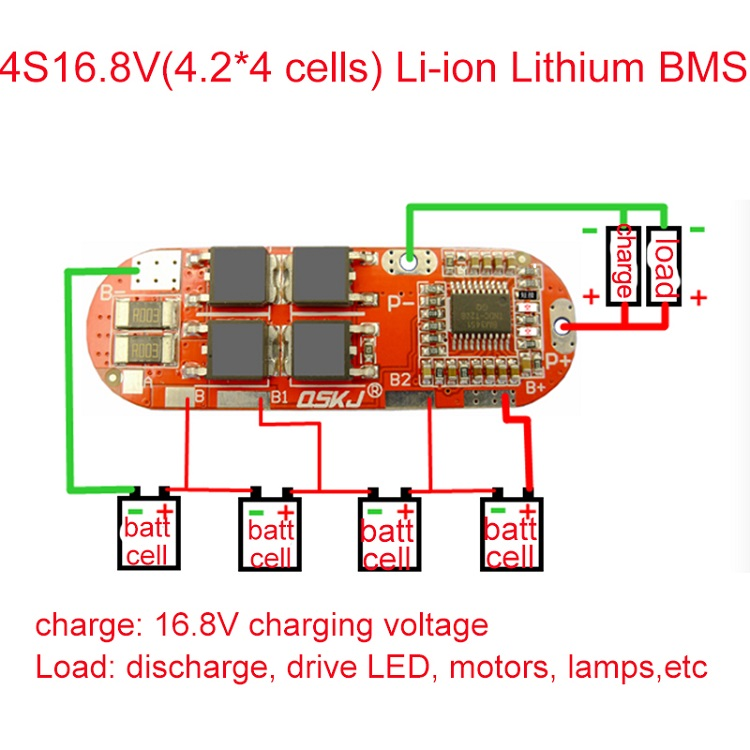 <font><b>4S</b></font> 25A BMS 16.8V Lipo Li-ion Lithium Battery Charge PCM BMS <font><b>4S</b></font> Lithium <font><b>18650</b></font> Battery Pack Protection Circuit Charging Board PCB image