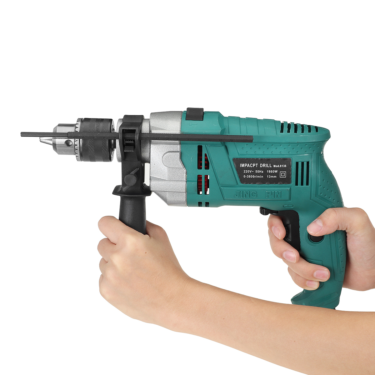 Tools : Drillpro 1980W 3800rpm 220V Electric Impact Drill Kit Handheld Flat Drill Rotary Hammer Multifunction   Scale Wrench Handle Bar