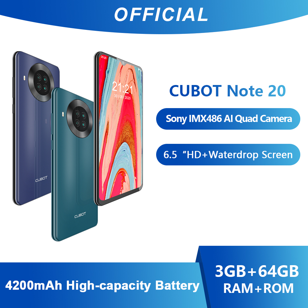 Cubot Nota 20 Smartphone Posteriore Quad Fotocamera NFC Google Android 10 6.5 Pollici 4200mAh Dual SIM Card del Telefono 4G LTE 3GB + 64GB celular
