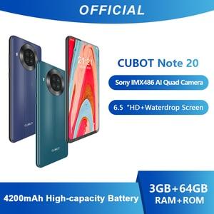 Cubot Note 20 смартфон сзади Quad Камера NFC Google Android 10 6,5 дюймов 4200 мА/ч, Две сим-карты телефон 4 аппарат не привязан к оператору сотовой связи 3 ГБ + 64 ГБ ...