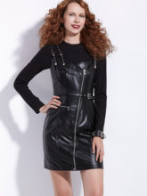 Rosetic PU Leather Dress Two Pieces Set Sexy Punk Gothic Chic Zipper Women Sets Black Spring Tops Strap Dresses Suit 2020(China)