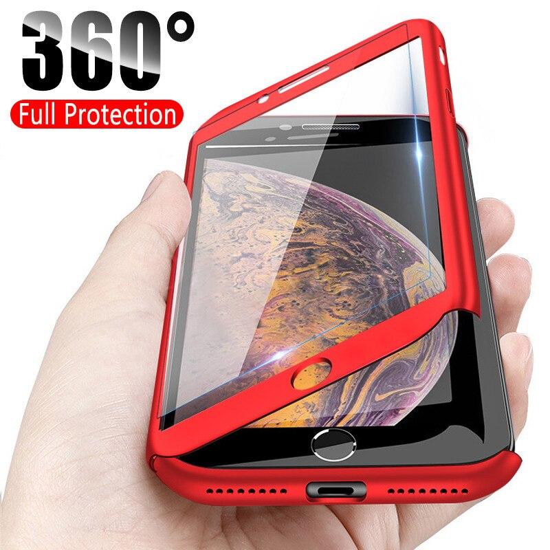 De Lujo 360 protección completa para iPhone 12 Pro Max mini A prueba de golpes a prueba de cubierta SE 2020 XR X 11 Pro XS Max 7 8 Plus 6 6s con vidrio