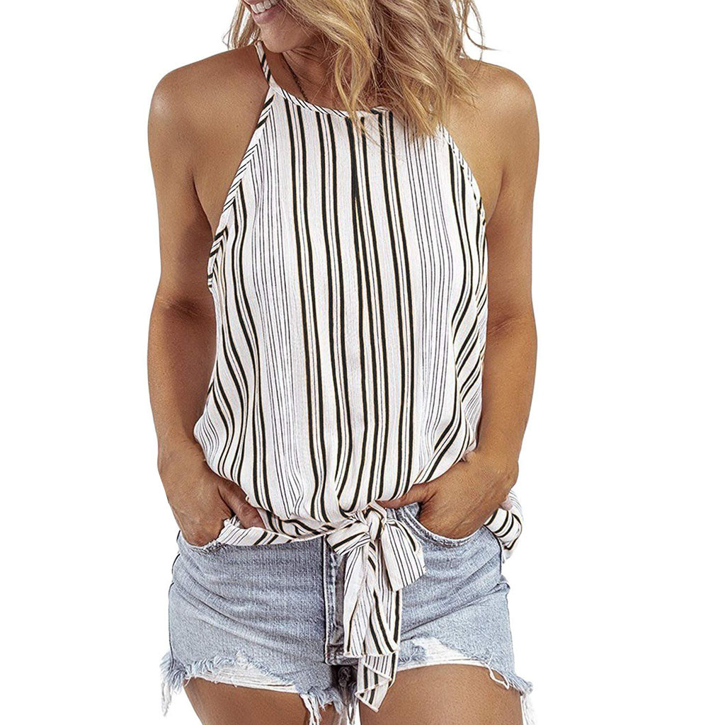 25# Women's Casual Simple Vest 2020 Women's Fashion Sexy Sleeveless Backless Striped Print Camisole Casual Shirt Top