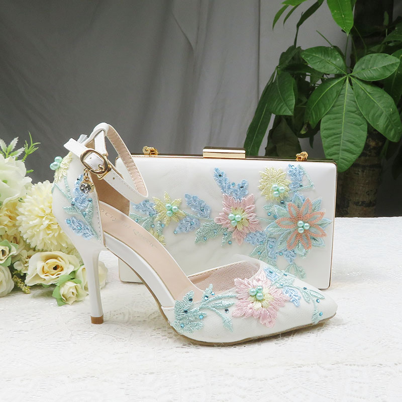 2020 New Summer Mint  green Flower wedding shoes with matching bags High heels Pointed Toe Ankle Strap Party shoe and bag set