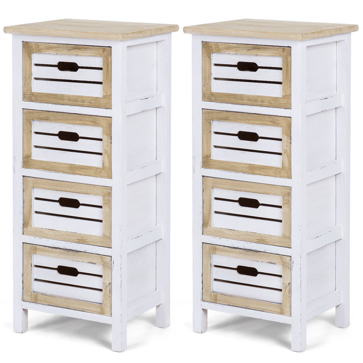 Costway 2PCS Wooden Chest Bedside Table Nightstand Cabinet Side End Table W/4 Drawer