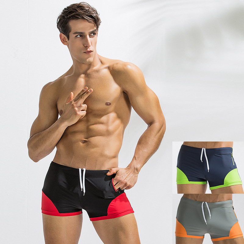 Cross Border For Fashion Sexy Adult Boxer MEN'S Swimming Trunks Joint Side Pocket Hot Springs Swimming Trunks Men's