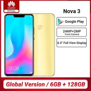 Huawei Nova 3 с глобальной версией, 6 ГБ, 128 ГБ, смартфон, 24 МП, двойная камера s, 24 МП, фронтальная камера, 6,3 дюйма, полный экран, Kirin 970, Android 8,1