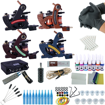 Professional Complete Tattoo Kit Tattoo Machine 2/3/4pcs Liner Shader Tattoo Gun Immortal Tattoo Ink Set Power Box Grip Supply tattoo machine gun shader equipment set page 2 page 3 page 1