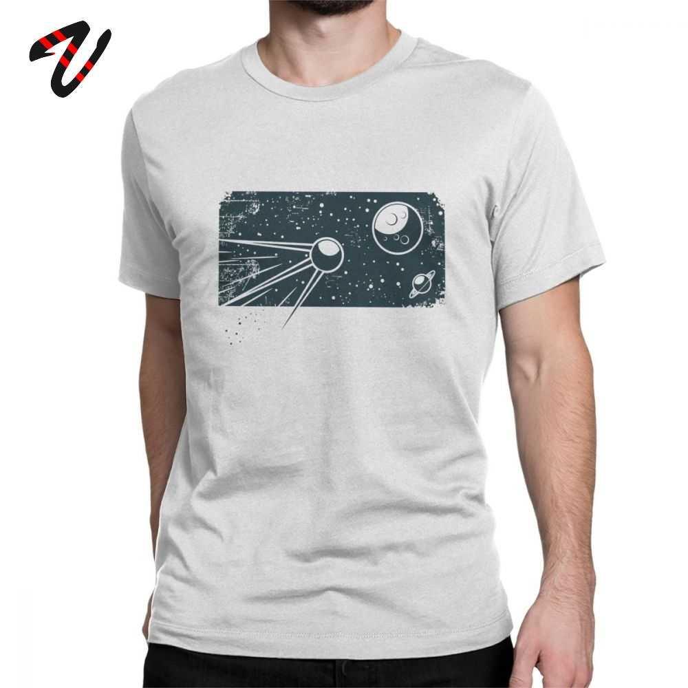 Geek Sputnik t-shirt erkekler CCCP Tshirt O boyun % 100% pamuk T gömlek Retro rusya uzay programı giysileri kısa kollu Tees baskılı