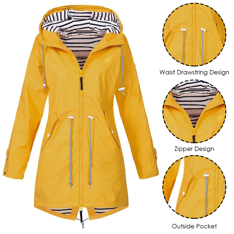 Heflashor Women Jacket Winter Rain Zipper Windproof Long 2019 Plus Size Ladies Coat For Women Raincoat Jacket Coat Autumn Winter 2