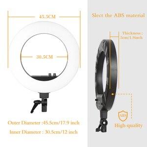 Image 3 - 18 cal fotograficzne LED lampa pierścieniowa z lekki statyw 5500K lampa do nagrań wideo cyfrowy oświetlenie fotograficzne