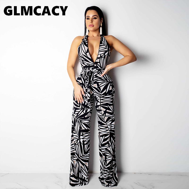 Women Printed Deep V-neck Wrap Belt Wide Leg Jumpsuits Casual Slim Fit Halter Sleeveless Summer Plus Size Jumpsuits