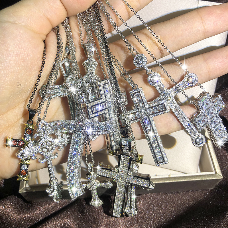 Bling Cross Pendant Silver Color Statement Necklace with Zircon StoneLong Chain Necklace for Women Man Religious Fashion Jewelry
