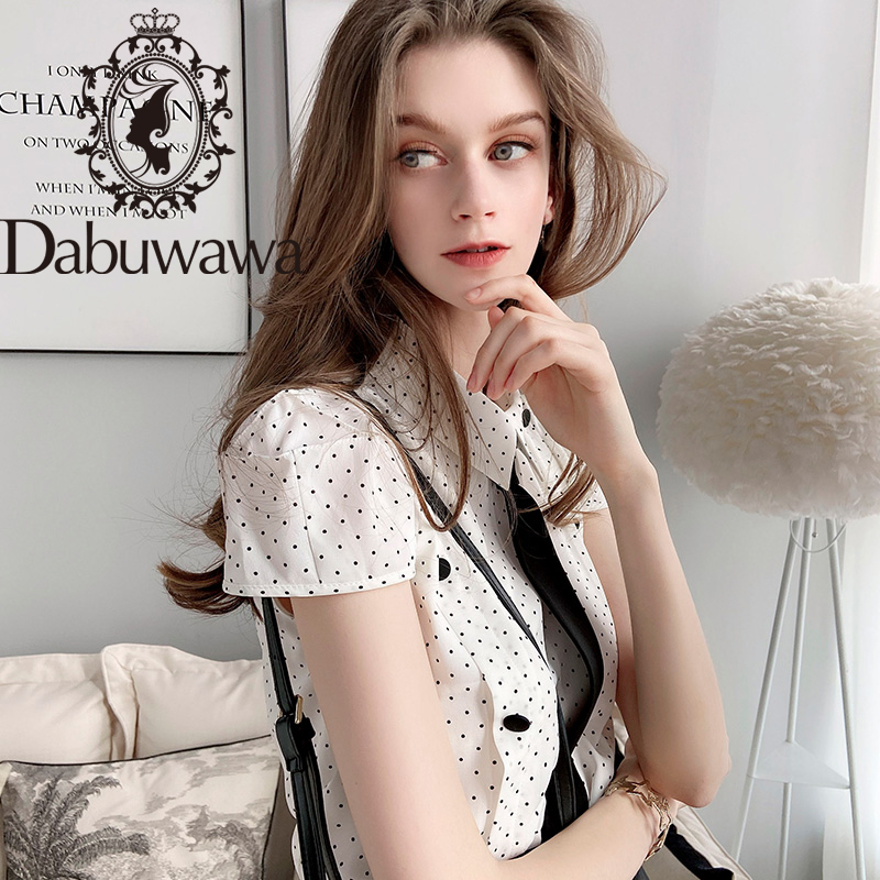 Dabuwawa Elegant Dot Printed Chiffon Blouse Women Tie Neck Turn-down Collar Button Short Sleeve Shirts Office Lady DT1BCF009