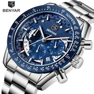 Image 1 - 2020 Horloge Mannen Luxe Merk Benyar Mannen Blauw Horloge Roestvrij Staal Horloge Mannen Chronograaf Horloge Mannen Relogio Masculino