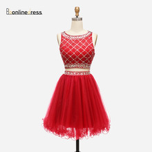 Cheap Homecoming Dress Rulf Crystal Beaded Sparkly Short Gow